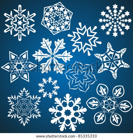 Set of vector snowflakes isolated on blue background. - stock vector