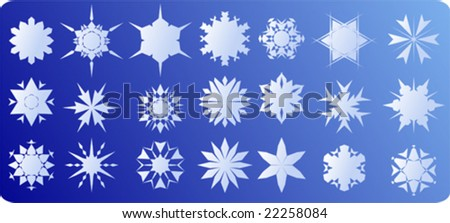 Set of vector snowflakes on blue background - stock vector