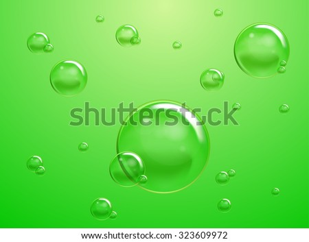 Set of Vector Soap Water Bubbles. Transparent Isolated Realistic Design Elements. Can be used with any Background. - stock vector