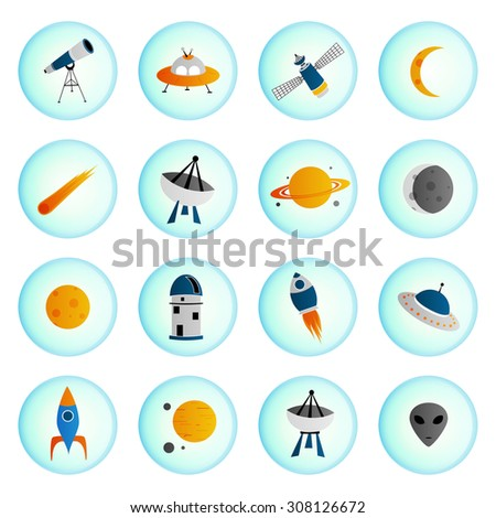 Set of vector space icons in circle shape, isolated on white background.