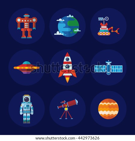 Set of vector space icons in flat design style