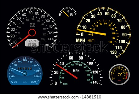 set of vector speedometer and counter - stock vector