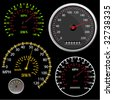 Set of vector Speedometer and Counter in miles and kilometers - stock photo
