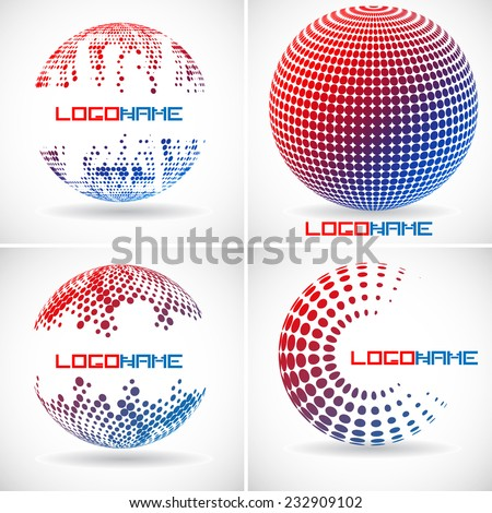 Set of Vector Spheres with Halftone Dots . Logo Design . - stock vector