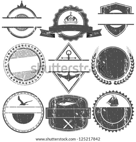 Set of vector stamps with an empty place for the text - stock vector