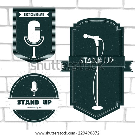 Set of vector stand up comedy logos and badges at white brick background. Modern and retro microphones. Labels and banners for print and web design. - stock vector