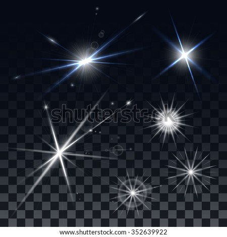 Set of vector stars on a black background. The effect of the explosion and the lights, reflections and glare. Design elements for the design of banners, Christmas cards, flyers.  - stock vector