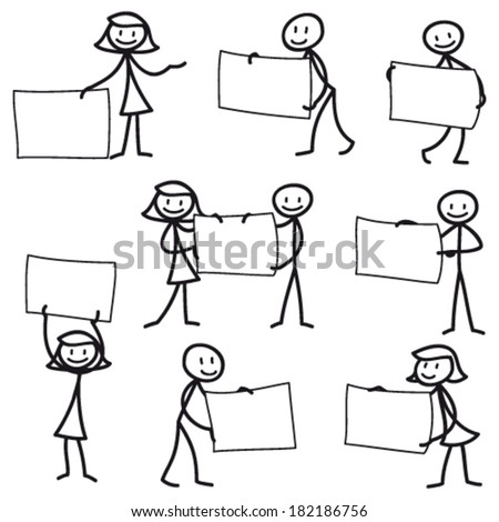 Set of vector stick figures: Stick man pointing and holding blank signs.