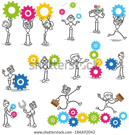 Set of vector stick figures: Stickman with cog wheels, gears, interacting with coworkers, teamwork, mechanical. - stock vector