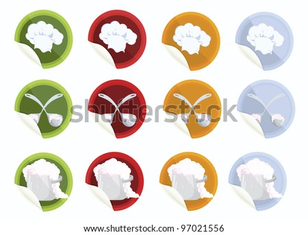 Set of vector stickers with chef hat big spoon pot on white  background - stock vector