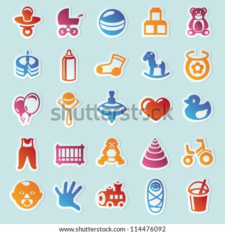 Vector Card Colorful Baby Icons Stock Vector 112753132