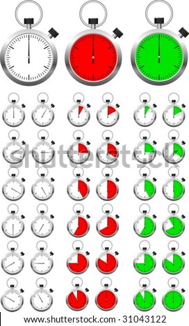 Set of vector stopwatch timers indicating different periods of time. - stock vector