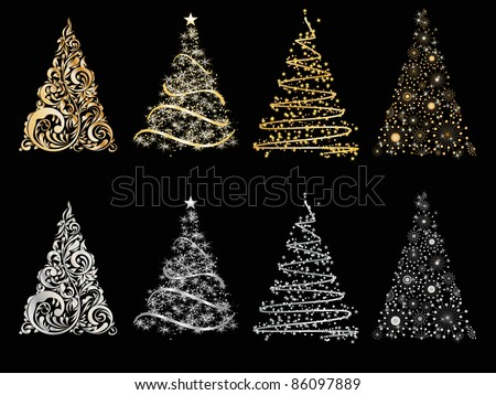 set of vector stylized Christmas tree - stock vector