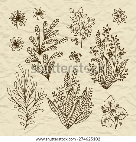Set of vector stylized flowers & leaves, retro old vintage branches swirls on torn paper - stock vector