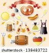set of vector subjects for octoberfest - stock photo