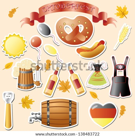 set of vector subjects for octoberfest - stock vector