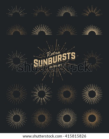 Set of vector sunbursts. Vintage design elements. Retro style line art decorative sun beams. Hand drawn sunshine shapes.  - stock vector