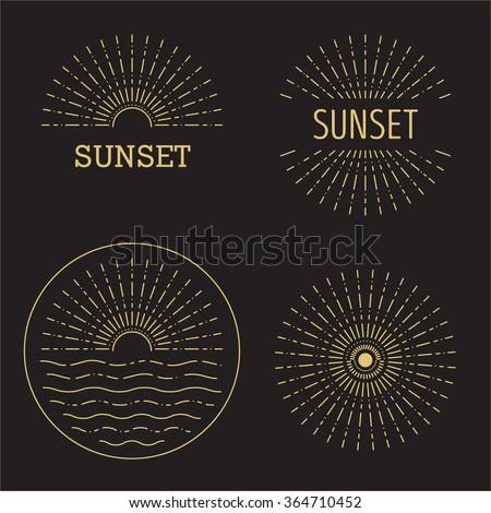 Set of Vector sunset hipster minimal outline logo,sunlight stamp, natural sign, sun emblem, wave, ocean, sunshine eco icon - stock vector