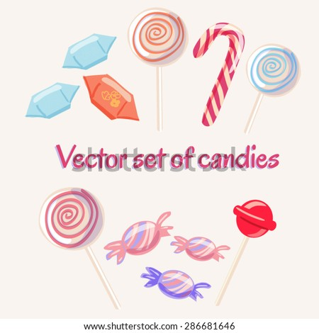 Set of vector sweets. Isolated icons of candies and lollipops in bright colors. - stock vector