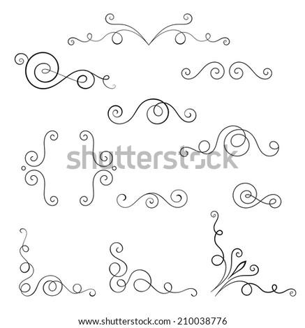 Set of vector swirl elements for design. - stock vector