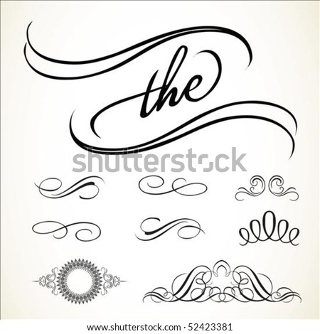 Set of vector swirl ornaments. Easy to edit and change colors. - stock vector