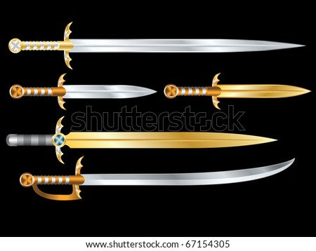 Set of vector swords - stock vector