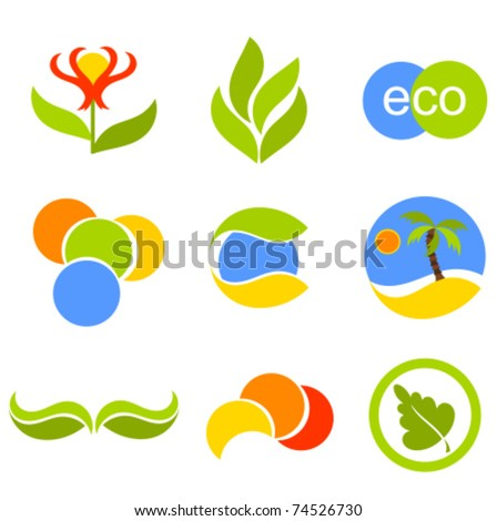 Set of vector symbols and icons with nature elements for design - stock vector