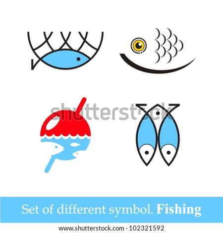 set of vector symbols fishing. vector image - stock vector