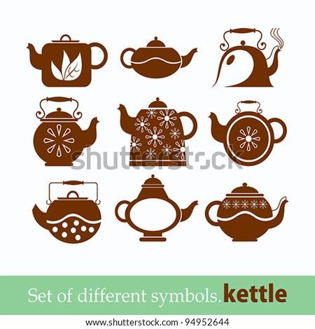 set of vector symbols kettle. teapot - stock vector