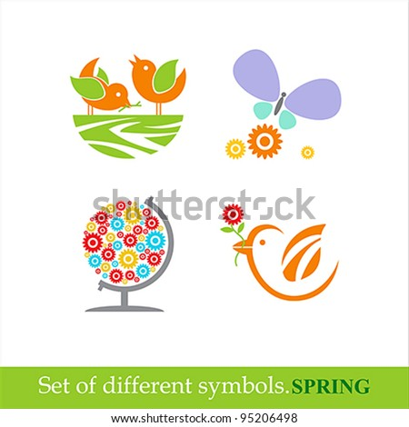 set of vector symbols of spring. - stock vector