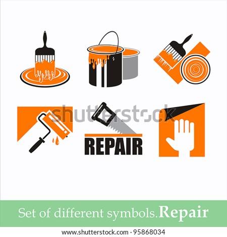 set of vector symbols repair - stock vector