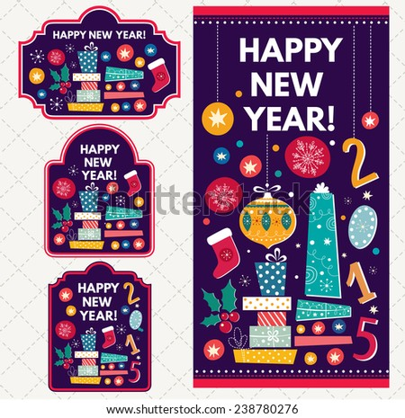 Set of vector tags and labels. Happy New Year illustration with gift boxes - stock vector