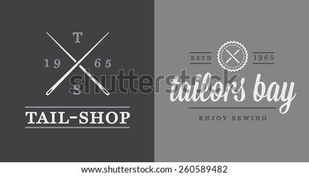 Set of Vector Tailoring Tailor Sew Elements and Sewing Knitting Illustration can be used as Logo or Icon in premium quality - stock vector