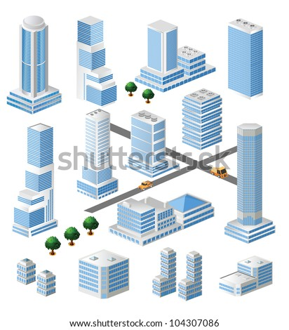 Set of vector tall buildings in shades of blue on a white background