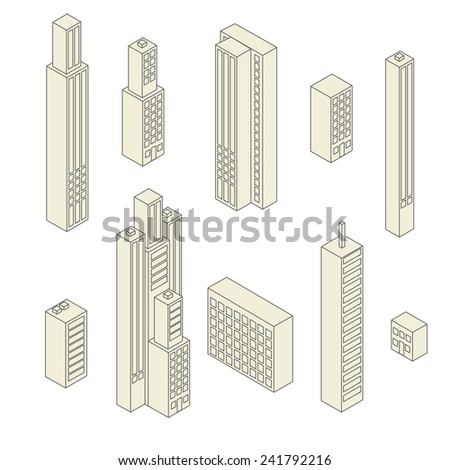 Set of vector tall buildings in shades on a white background - stock vector