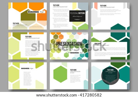 Set of 9 vector templates for presentation slides. Abstract colorful business background, modern stylish hexagonal vector texture. - stock vector