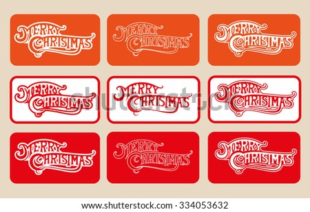 SET of vector text and logotype Merry Christmas different color in  frames isolated on beige background