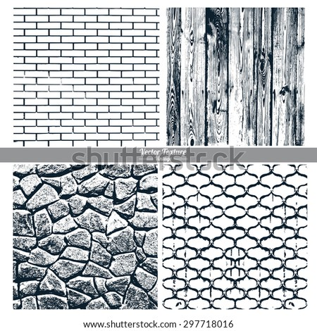 Set of vector textures. Dark texture brick wall, wood, stone wall, cast iron grid. - stock vector