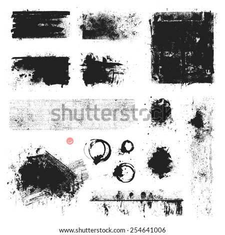 Set of vector textures, stains and brush strokes. - stock vector