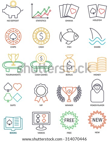 Set Of Vector Thin Line Online Poker Icons For Affiliate Promotional Web Site. - stock vector