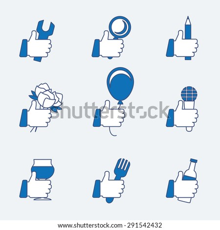 Set of vector thumbs up. OK and good, gesture like, balloon and pencil, flower and microphone, bottle and fork - stock vector
