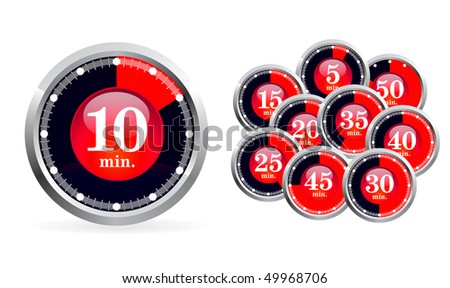 Set of vector timers on white background - stock vector