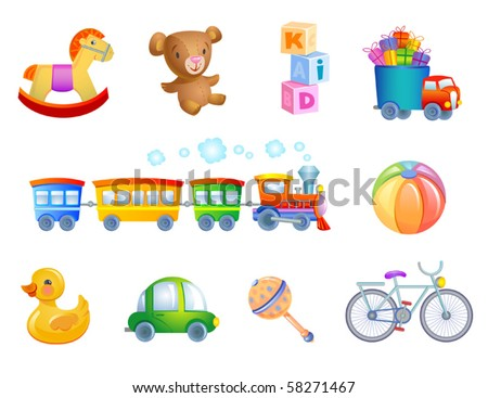 Set of 10 vector toys for kif. - stock vector