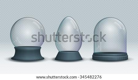 Set of Vector transparent empty snow globe. Christmas crystal ball. - stock vector