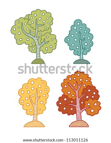 Set of vector trees - different seasons