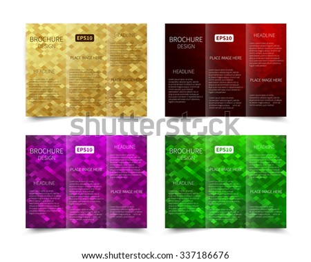 Set of vector tri-fold brochure design template with abstract geometric  background EPS10 Tri-Fold Mock up & back Brochure Design  - stock vector