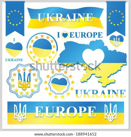 set of vector Ukraine - stock vector