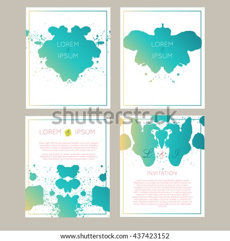 Set of vector universal cards with Rorschach test ink blob design. Wedding, anniversary, birthday, party. For poster, card, invitation, brochure, flyer. Creative hand drawn textures with gradient. - stock vector