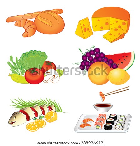 Set of vector various tasty food on white background illustration - stock vector