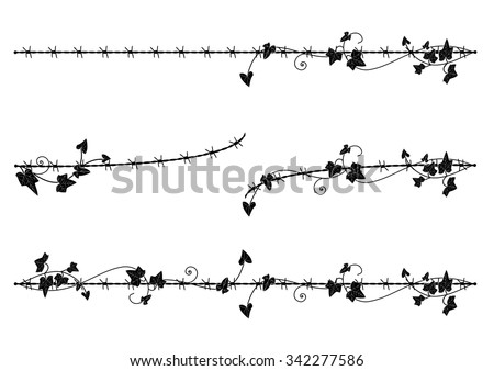 set of vector vignette with ivy and barbed wire - stock vector
